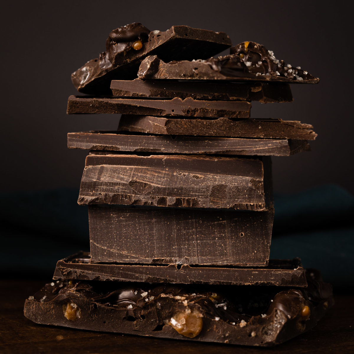 Food photography of a stack of chocolate bars